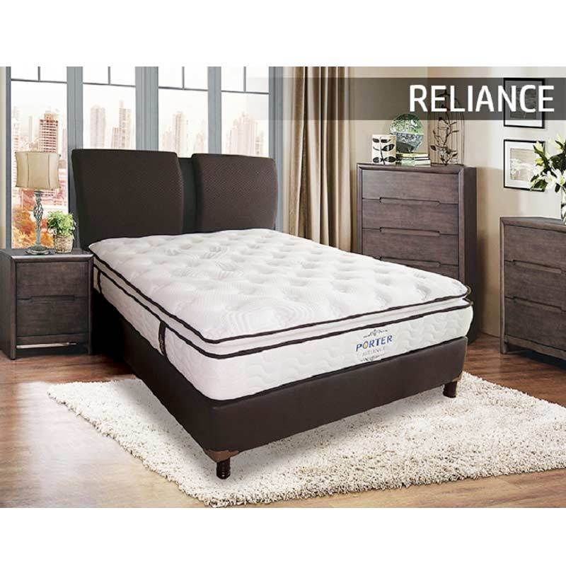 Porter Reliance Latex Semi Pillow Top Pocketed Spring Set Springbed [Full Set]