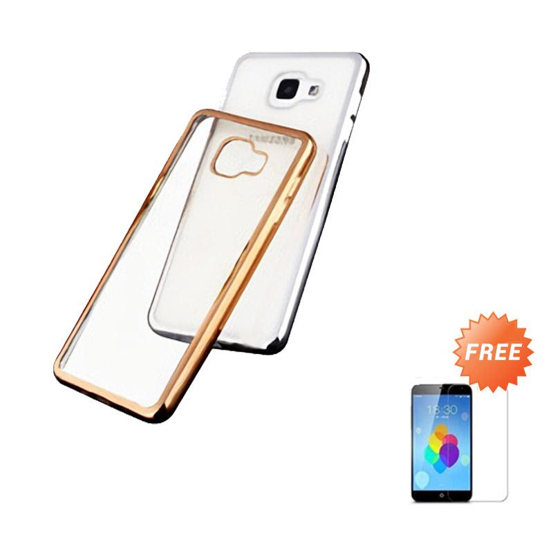 Ultrathin List Chrome Casing for Samsung Galaxy A5 2016 - Gold + Free Temperred Glass