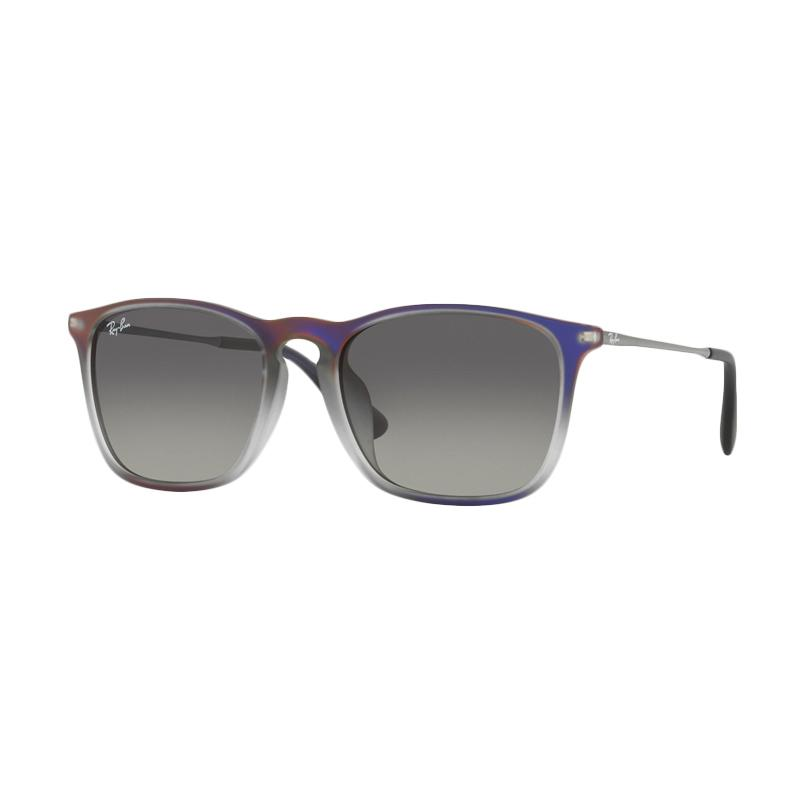 Ray-Ban Chris (F) RB4187F 622311 Sunglasses - Violet Shot On Black [Size 54 / Grey Gradient Dark Grey]