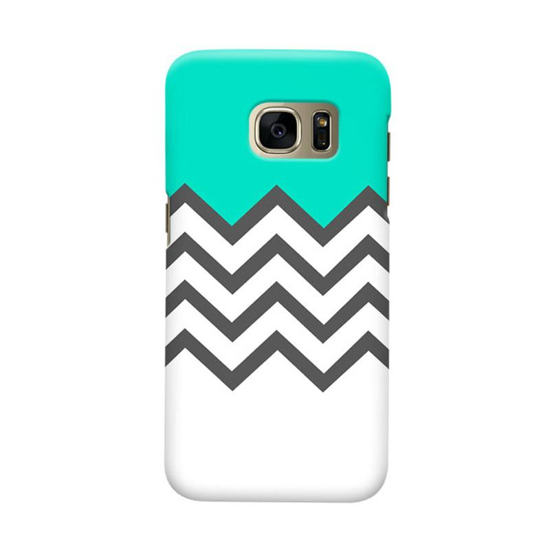 Indocustomcase Chevron Tosca Cover Casing for Samsung Galaxy S7 Edge