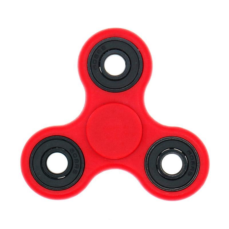 Berrisom Fidget Spinner Ceramic Ball Bearing Tri-Spinner Hand Toys Focus Game - Merah