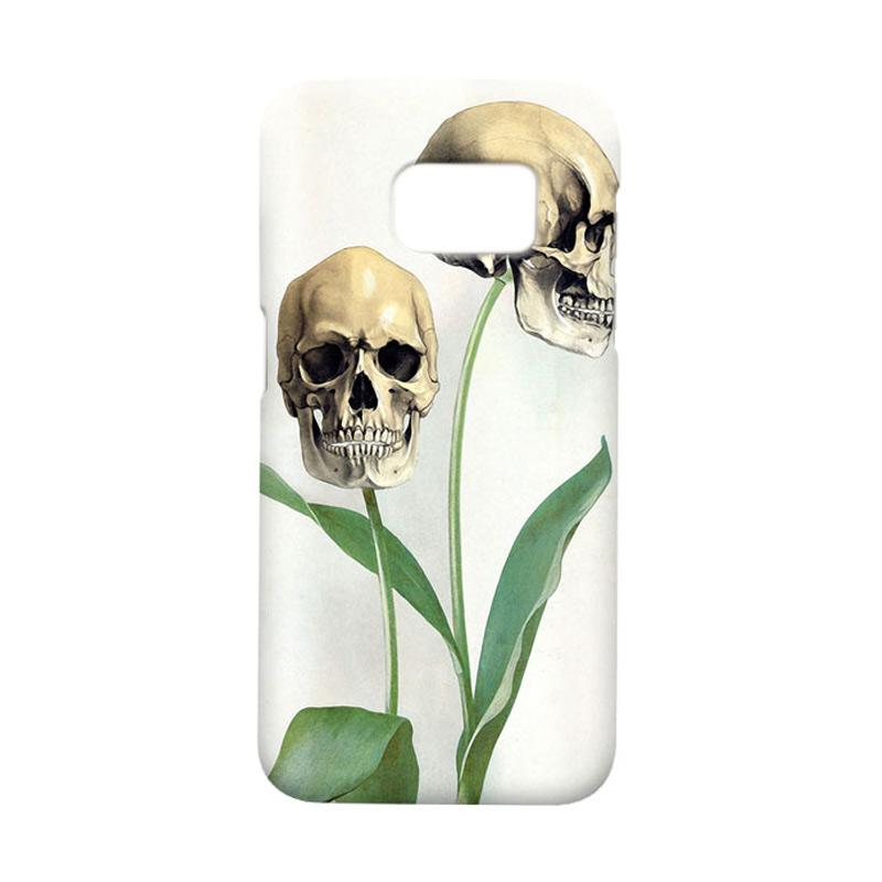 Indocustomcase Flower Skull Cover Casing for Samsung Galaxy S7 Edge