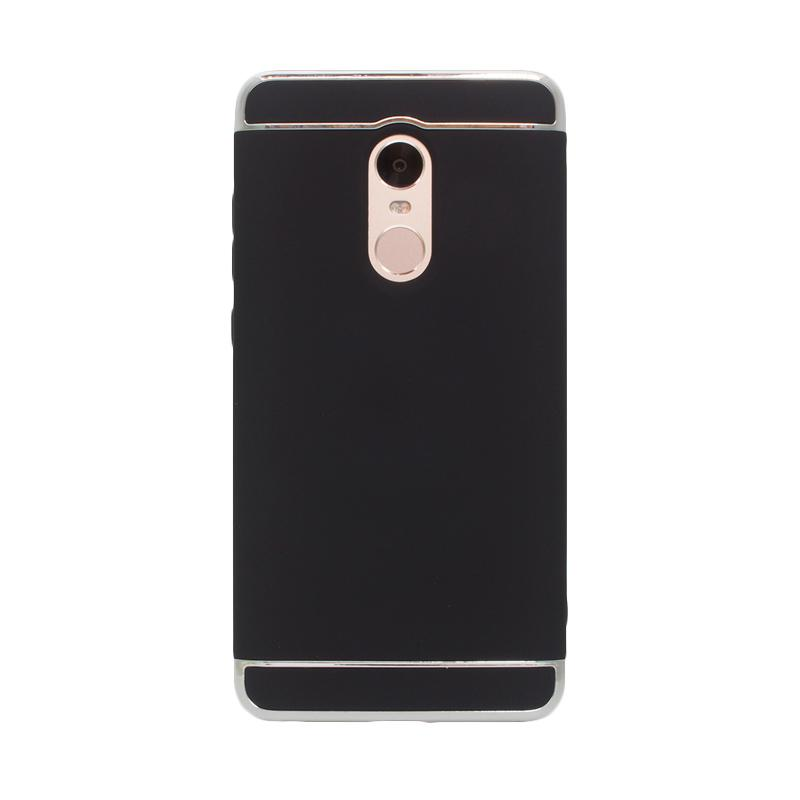 OEM Case 3 in 1 Plated PC Frame Bumper with Frosted Hardcase Casing for Xiaomi Redmi Note 4 - Black