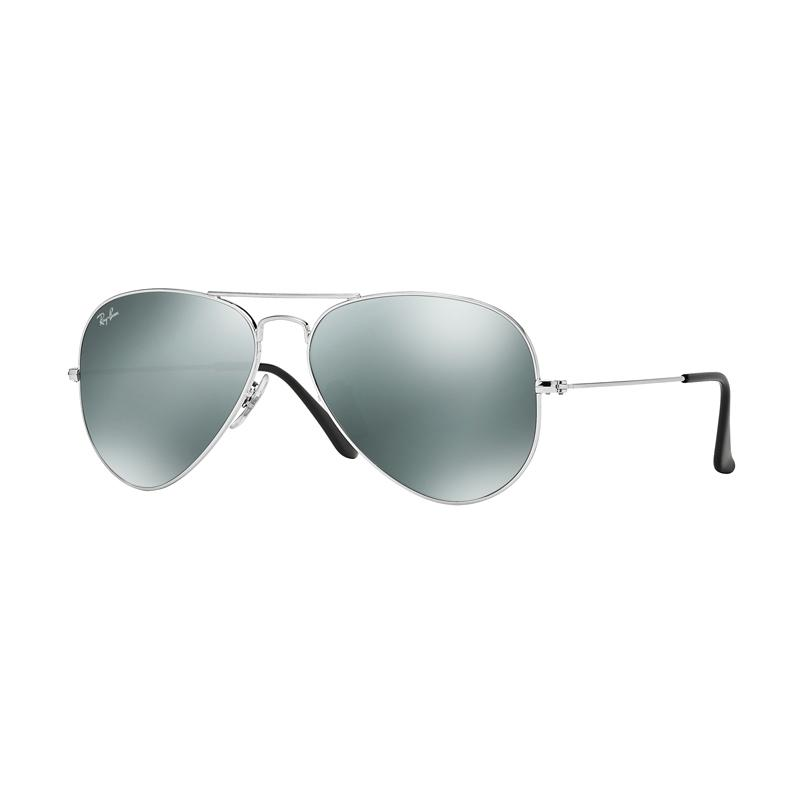 Ray-Ban Aviator Large Metal RB3025 - Silver W3277 Sunglasses - Crystal Grey Mirror [Size 58]