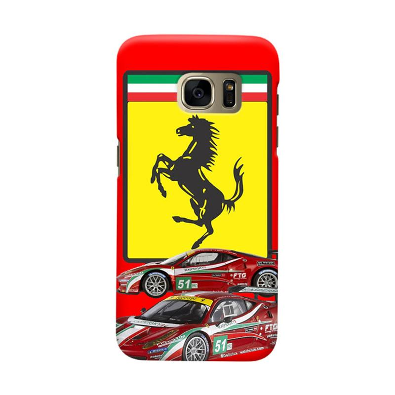 Indocustomcase Ferarri Sport Car Cover Casing for Samsung Galaxy S6 Edge
