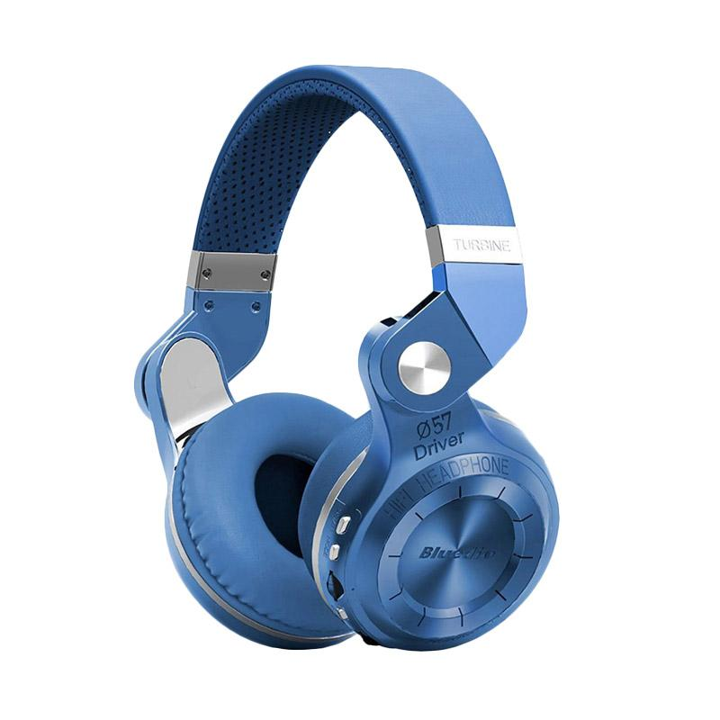 Bluedio Turbine T2+ Headset Bluetooth 4.1 with SD Card Slot + FM Radio Scan Function - Biru