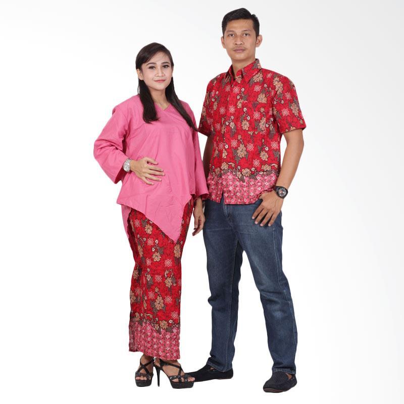 Batik Putri Ayu Solo Batik Couple Dress srd202 Baju Batik Couple - Pink