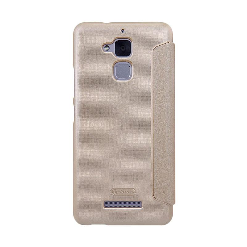 Nillkin Original Sparkle Leather Flip Cover Casing for Asus Zenfone 3 Max 5.2 Inch - Gold