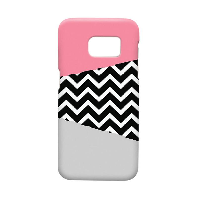 Indocustomcase Chevron Pink Cover Casing for Samsung Galaxy S7 Edge