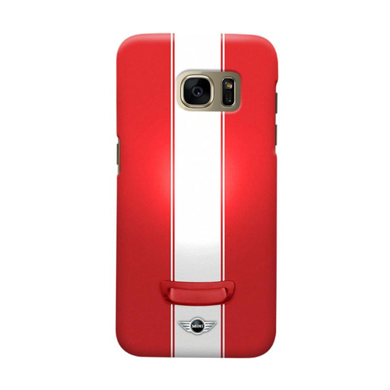 Indocustomcase Mini Cooper Cover Casing for Samsung Galaxy S7 Edge - Red