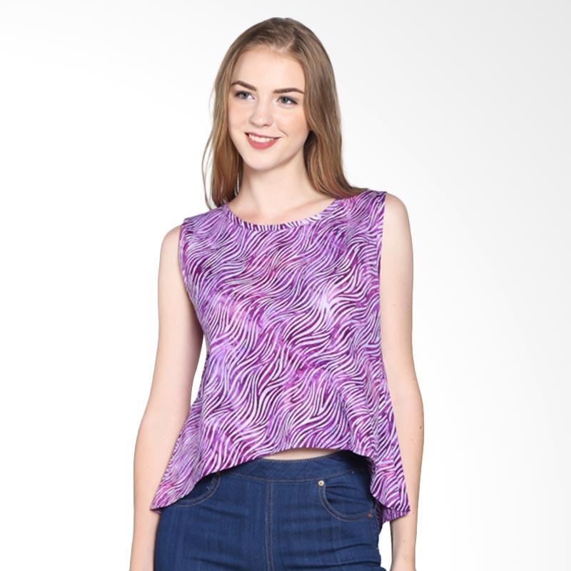 Batik Pria Tampan Women Wbltl-04081603c Women Violet Waved Marble Atasan Wanita - Violet