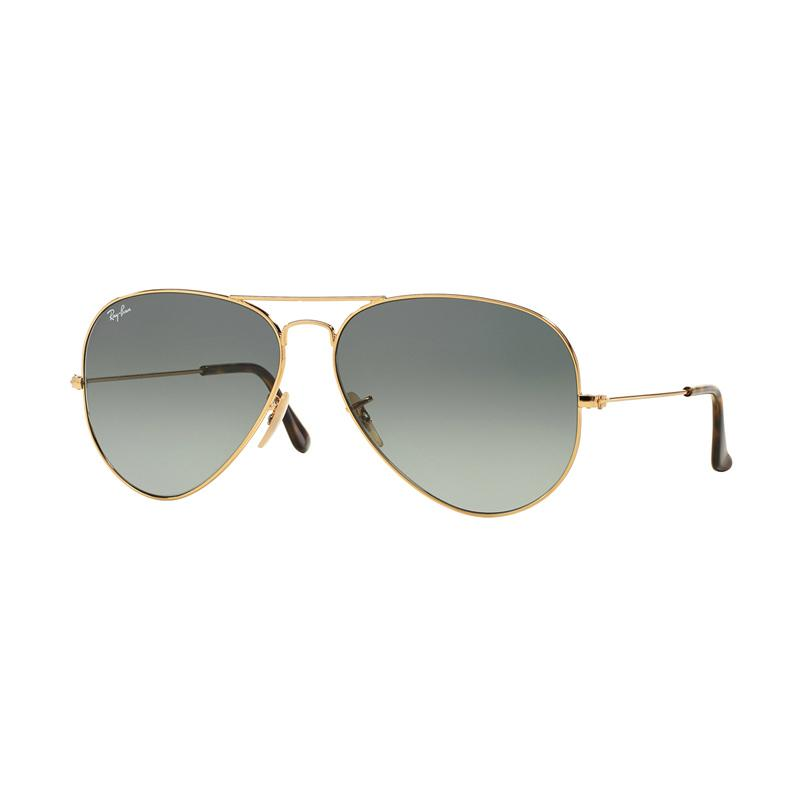 Ray-Ban 181-71 Aviator Large Metal RB3025 Light Grey Gradient Dark Grey Sunglasses - Gold [Size 58]