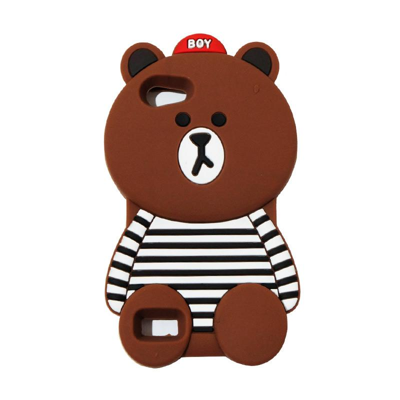 VR Silicon 3D Karakter Boy Bear Brown List Edition Softcase Casing for OPPO A33 Neo 7 - Brown