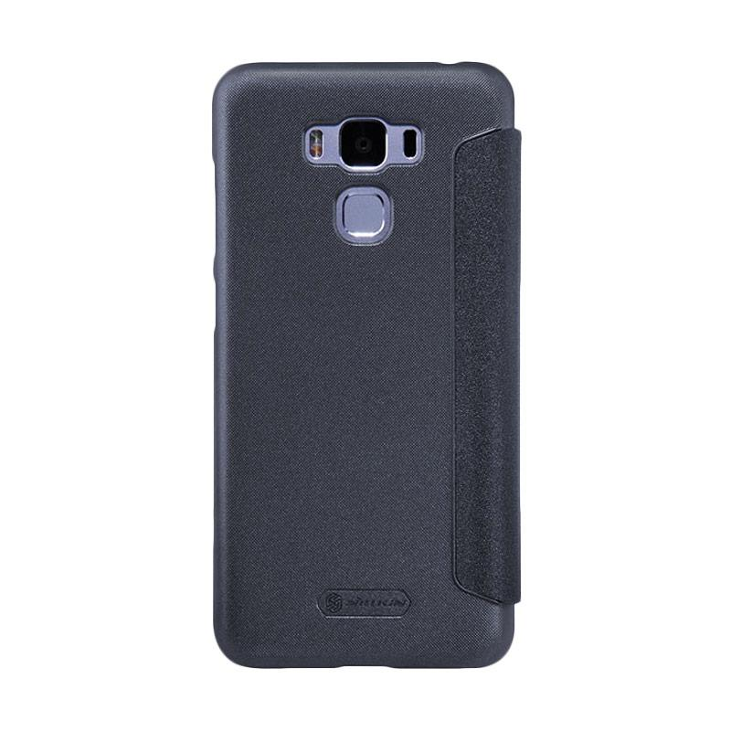 Nillkin Original Sparkle Leather Flip Cover Casing for Asus Zenfone 3 Max 5.5 Inch - Black