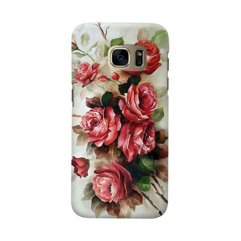 Indocustomcase Floral Red Rose Cover Casing for Samsung Galaxy S6 Edge