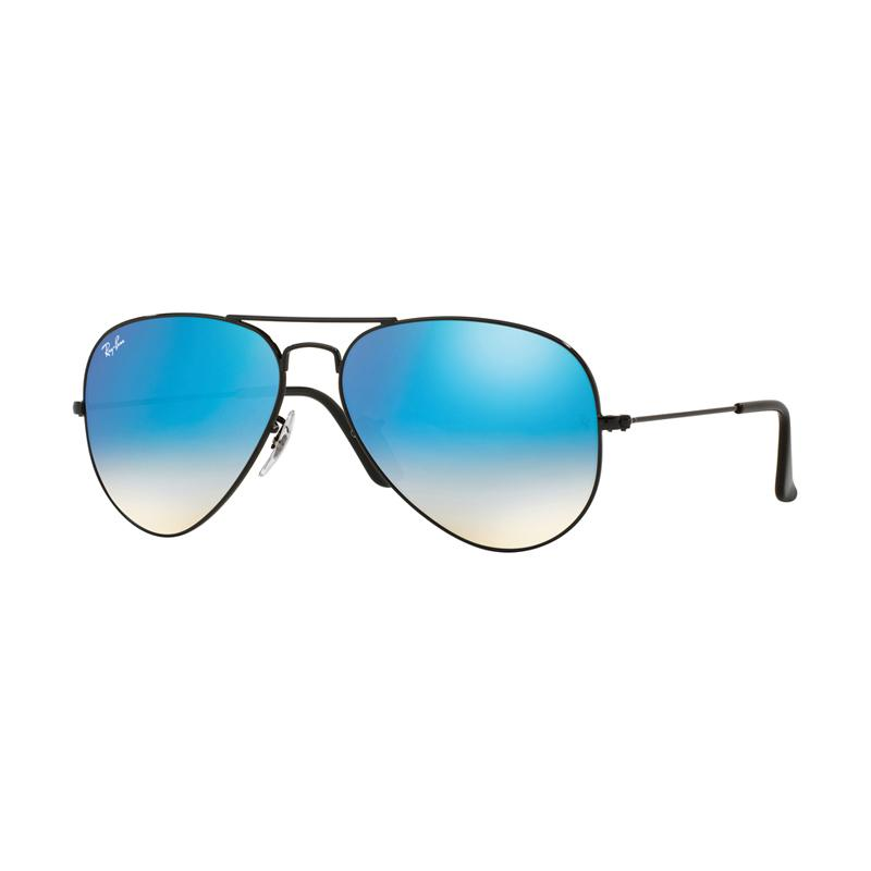 Ray-Ban Aviator Large Metal RB3025 Sunglasses - Shiny Black [002-4O/Size 58/Mirror Gradient Blue]