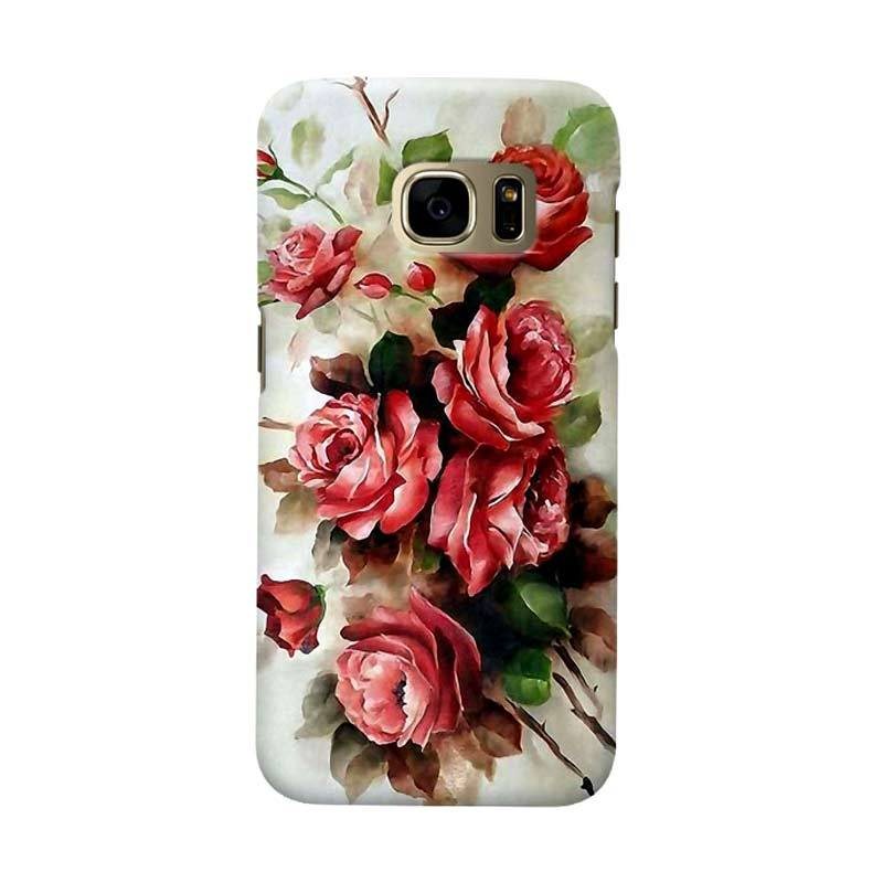 Indocustomcase Floral Red Rose Cover Casing for Samsung Galaxy S7 Edge