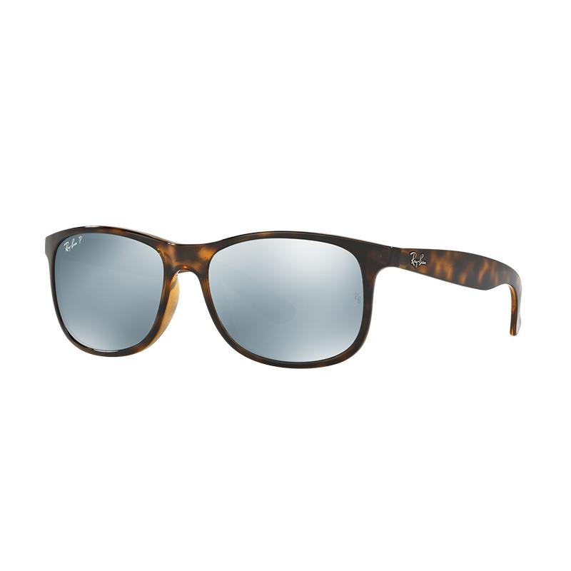 Ray-Ban Andy RB4202F 710/Y4 - Silver [Size 57/Shiny Havana Frame/Green Mirror Silver Polar Lens]