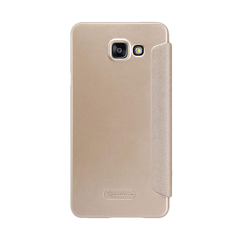 Nillkin Original Sparkle Leather Flip Cover Casing for Samsung Galaxy A3 Plus - Gold