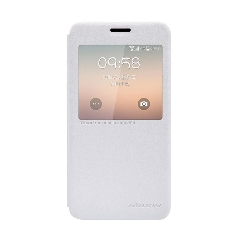 Nillkin Original Sparkle Leather Flip Cover Casing for Samsung Galaxy Alpha - White