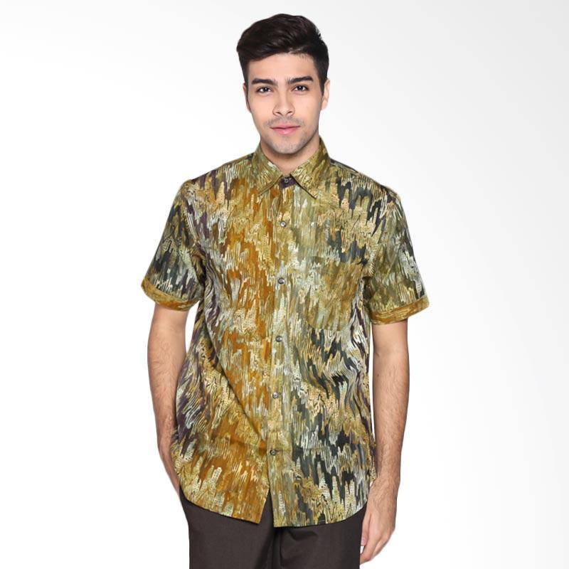 Batik Pria Tampan PKMPD-04081695C-Avocado Men Diagonal Ikat Slimfit Shirt Batik Pria
