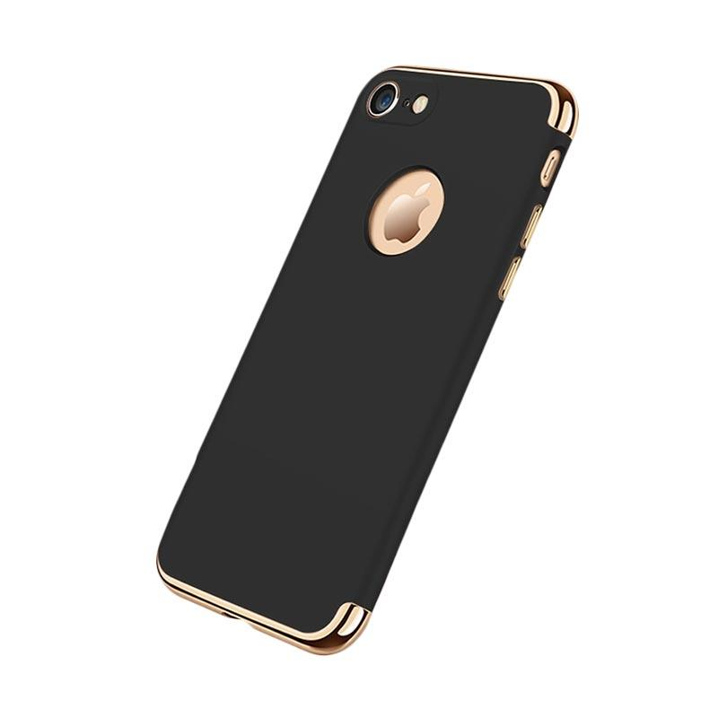 Fashion Case 3 in 1 Plated PC Frame Bumper with Frosted Hard Back Casing for iPhone 7 - Black