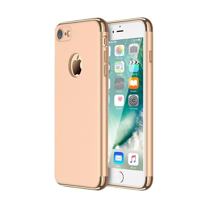 Fashion Case 3 in 1 Plated PC Frame Bumper with Frosted Hard Back Casing for iPhone 7 - Gold