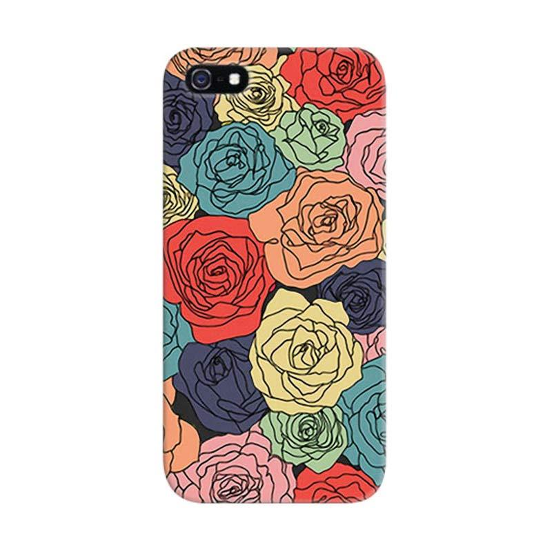 Indocustomcase Floral Art Roses 5S Custom Hardcase Casing for iPhone 5/5S/SE