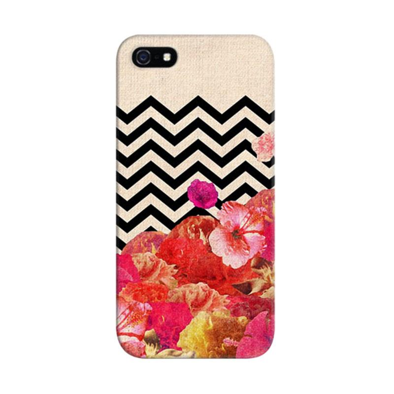 Indocustomcase Chevron Flora Custom Hardcase Casing for Apple iPhone 5/5S/SE