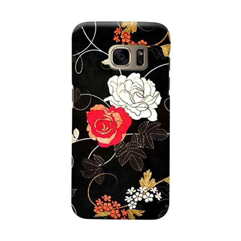 Indocustomcase Vintage Flower Cover Casing for Samsung Galaxy S7 Edge