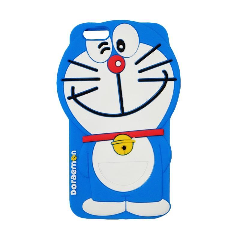 VR Karakter 3D Doraemon Edition Silicone Softcase Casing for Apple iPhone 6 Plus 5.5 Inch - Blue