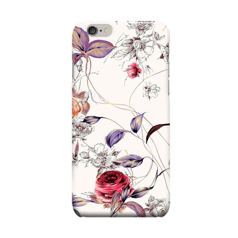 Indocustomcase Flower Art Cover Casing for Apple Iphone 6 Plus or 6S Plus