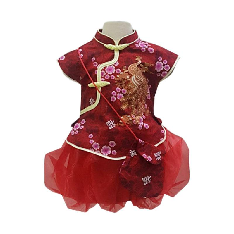 Chloebaby Shop F1009 Chinese New Year Dress Anak - Merah
