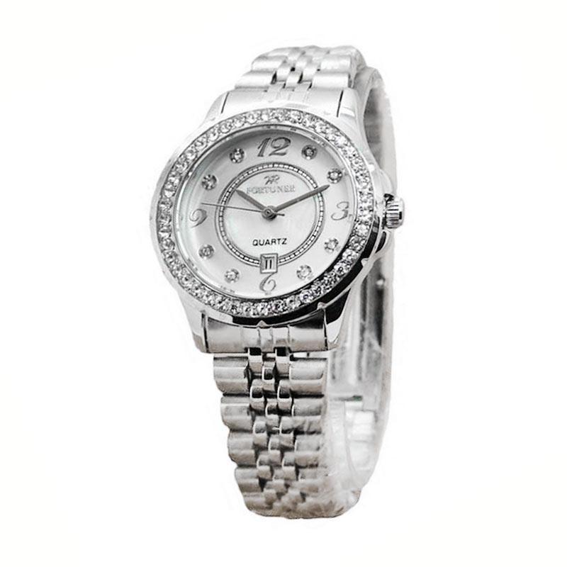 Fortuner Dualtime FR K925 Stainless Steel Strap Jam Tangan Wanita - Silver White