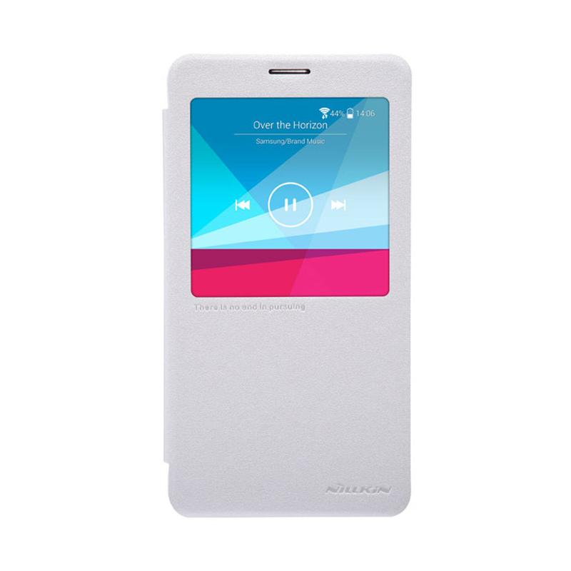 Nillkin Original Sparkle Leather Flip Cover Casing for Samsung Galaxy Note 4 - White