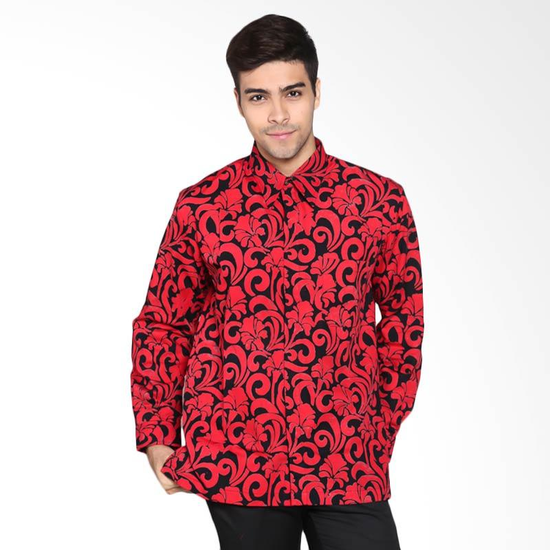 Batik Pria Tampan PKMPJ-04081691C Men Long Sleeve Dutch Flower Shirt Batik Pria - Red