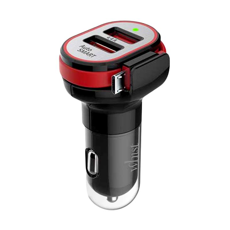 Hippo Whist Fast Charging Adaptor Car Charger - Hitam [Max Output 4.4A/Simple Pack Micro]