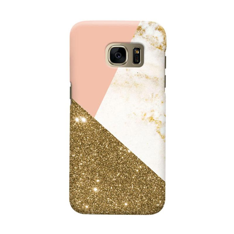 Indocustomcase Gold Glitter Geometric Cover Casing for Samsung Galaxy S7