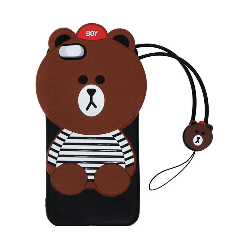 VR 3D Boy Bear List Edition Silicon Softcase Casing with Tali Gantungan for Oppo A39 - Brown