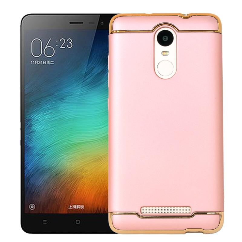 OEM Case 3 in 1 Plated PC Frame Bumper with Frosted Hardcase Casing for Xiaomi Redmi Note 3 or Xiaomi Redmi Note 3 Pro - Rose Gold