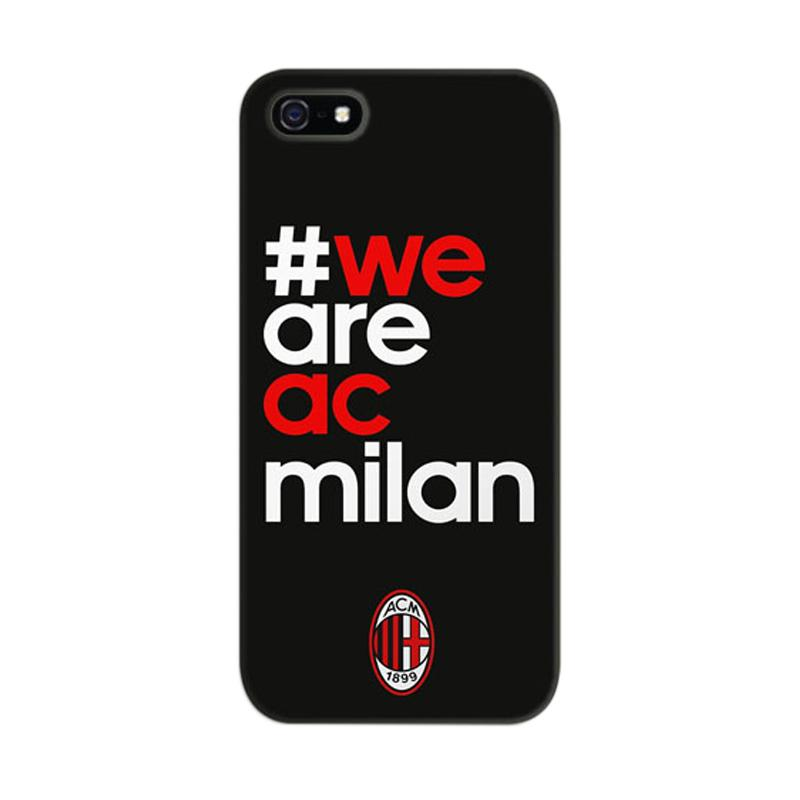 Indocustomcase #We Are AC Milan 2 Black Cover Hardcase Casing for Apple iPhone 5/5S/SE