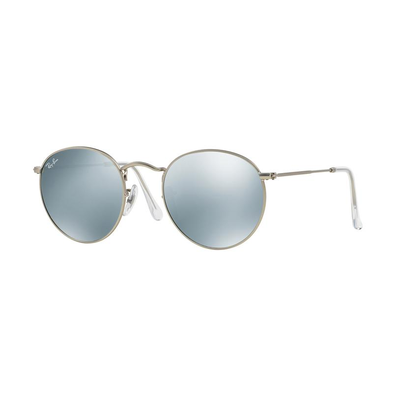 Ray-Ban 019-30 RB3447 Light Green Mirror Silver Round Metal Sunglasses - Matte Silver [Size 50]