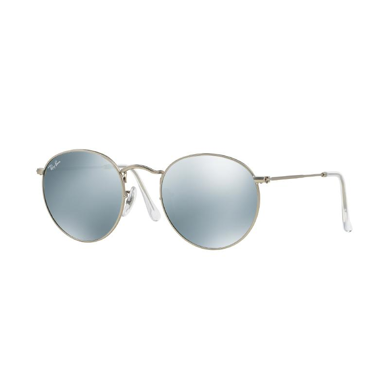 Ray-Ban 019-30 Round Metal RB3447 Light Green Mirror Silver Sunglasses - Matte Silver [Size 53]