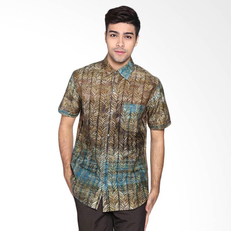 Batik Pria Tampan PKMPD-04081683C-Pond Men Feather Stripe Slimfit Shirt Batik Pria