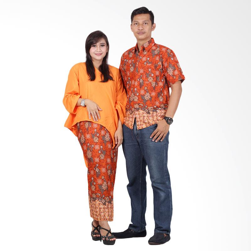 Batik Putri Ayu Solo Batik Couple Dress srd202 Baju Batik Couple - Orange
