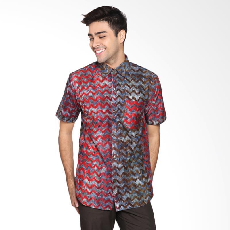 Batik Pria Tampan PKMPD-04081696C-Charcoal Men Zig Zag Skin Slimfit Shirt Batik Pria