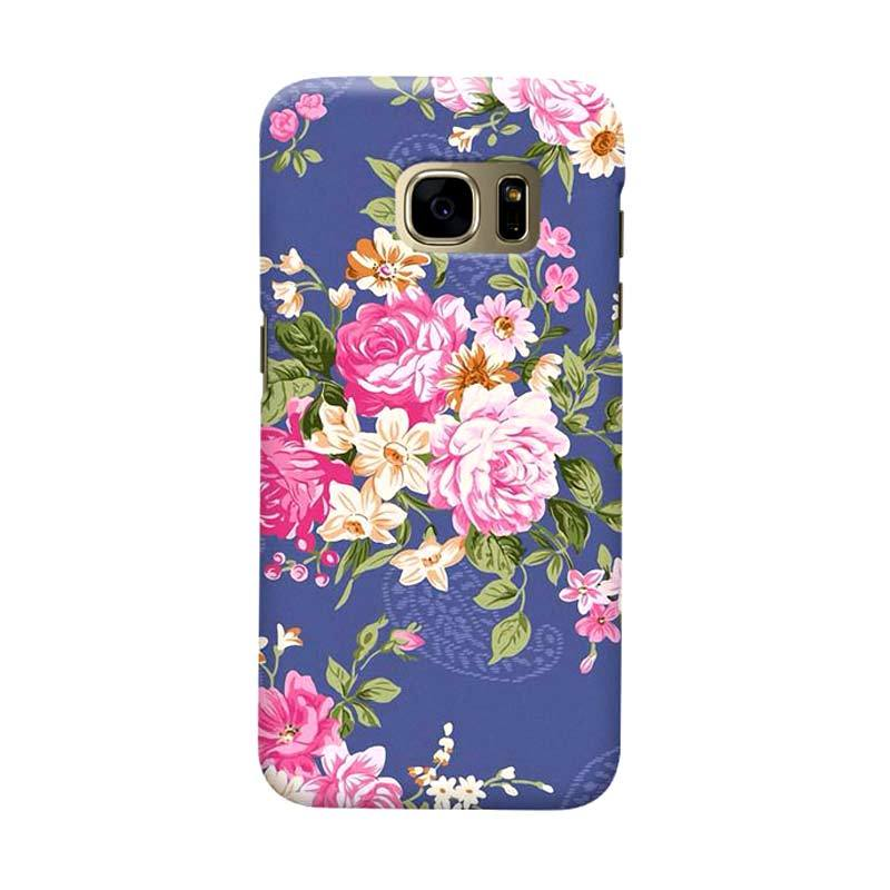 Indocustomcase Floral Rose Blue Cover Casing for Samsung Galaxy S7 Edge
