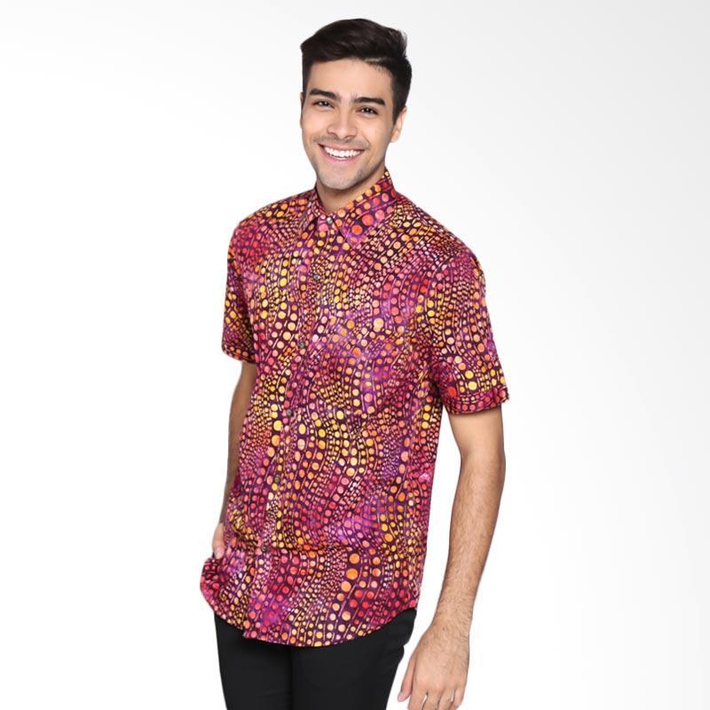 Batik Pria Tampan PKMPD-04081690C Men Gradation Dot Slimfit Shirt Batik Pria - Magenta