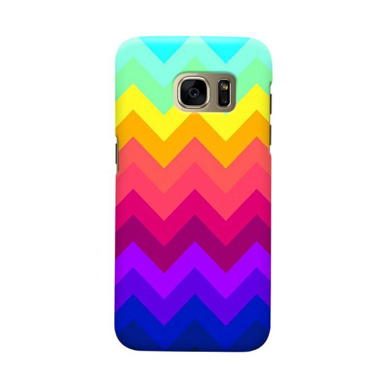 Indocustomcase Chevron Rainbow Cover Casing for Samsung Galaxy S6 Edge
