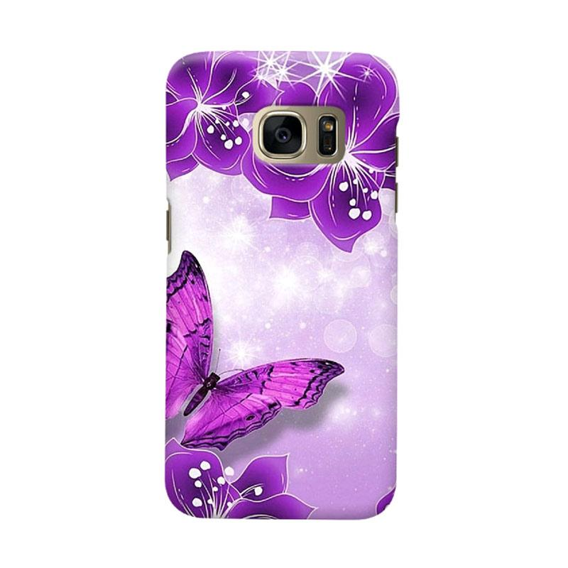 Indocustomcase Purple Butterfly Cover Casing for Samsung Galaxy S6